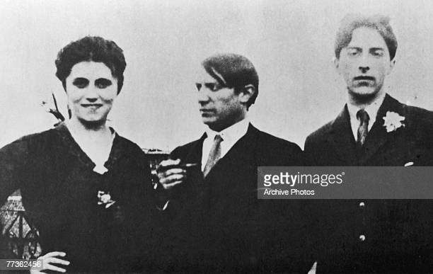 Pablo Picasso centre with his first wife Olga Khokhlova and French artist Jean Cocteau 1917