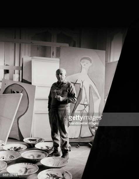 Pablo Picasso in his villa La Californie in Cannes Photography by Franz Hubmann 1957 [Pablo Picassso in dessen Villa La Californie in Cannes...