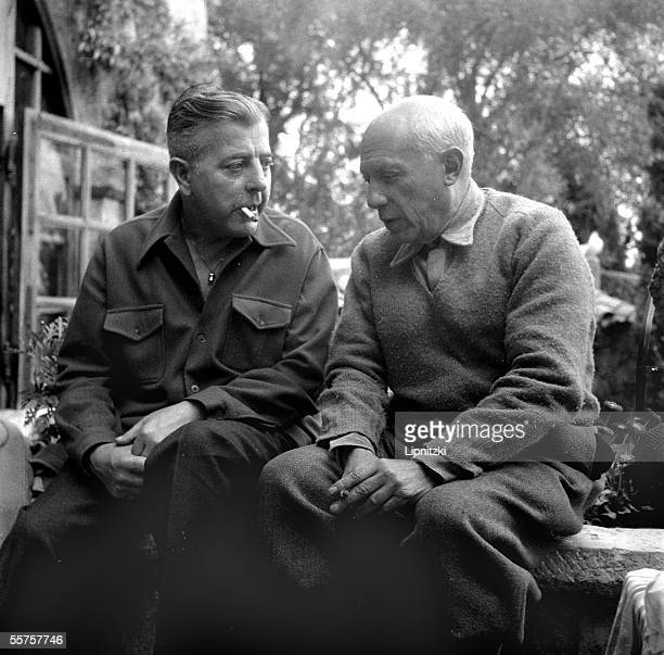 Pablo Picasso Spanish painter and Jacques Prevert French poet in Cannes in April 1951 LIP1069122