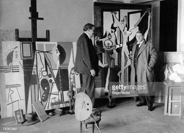 Pablo Picasso Spanish painter and sculptor poses in his studio in 1922 Paris France