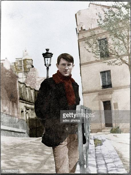 Pablo Picasso Spanish painter At Montmartre place de Ravignan Paris Ca 1904 Coloured photograph