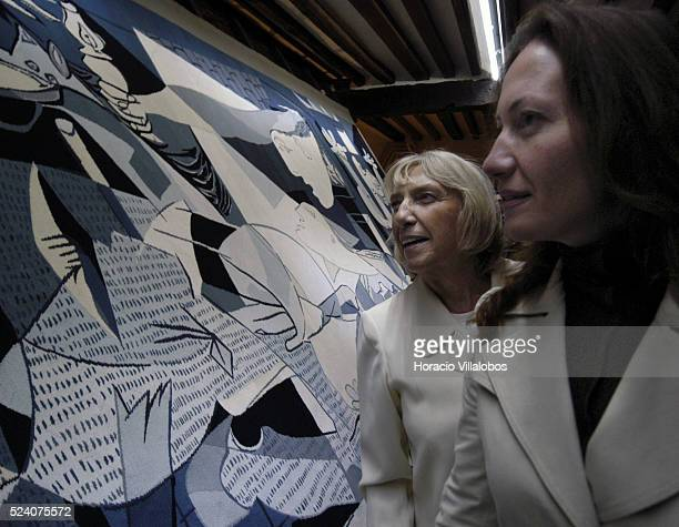 Pablo Picasso's daughter Maya Picasso and his grand daughter Diana Widmeyer Picasso observe the tapestry of Guernica at the studio where the Spanish...
