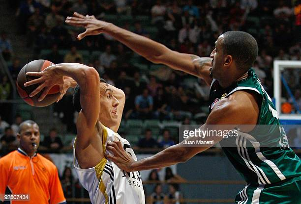 Pablo Prigioni, #5 of Real Madrid in action during the Euroleague Basketball Regular Season 2009-2010 Game Day 3 between Real Madrid and...