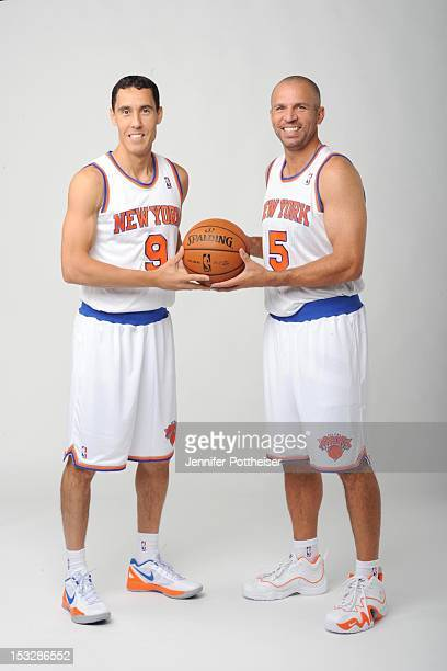 Pablo Prigioni and Jason Kidd of the New York Knicks pose for a portrait during Media Day on October 1 2012 at the Knicks Training Facility in...