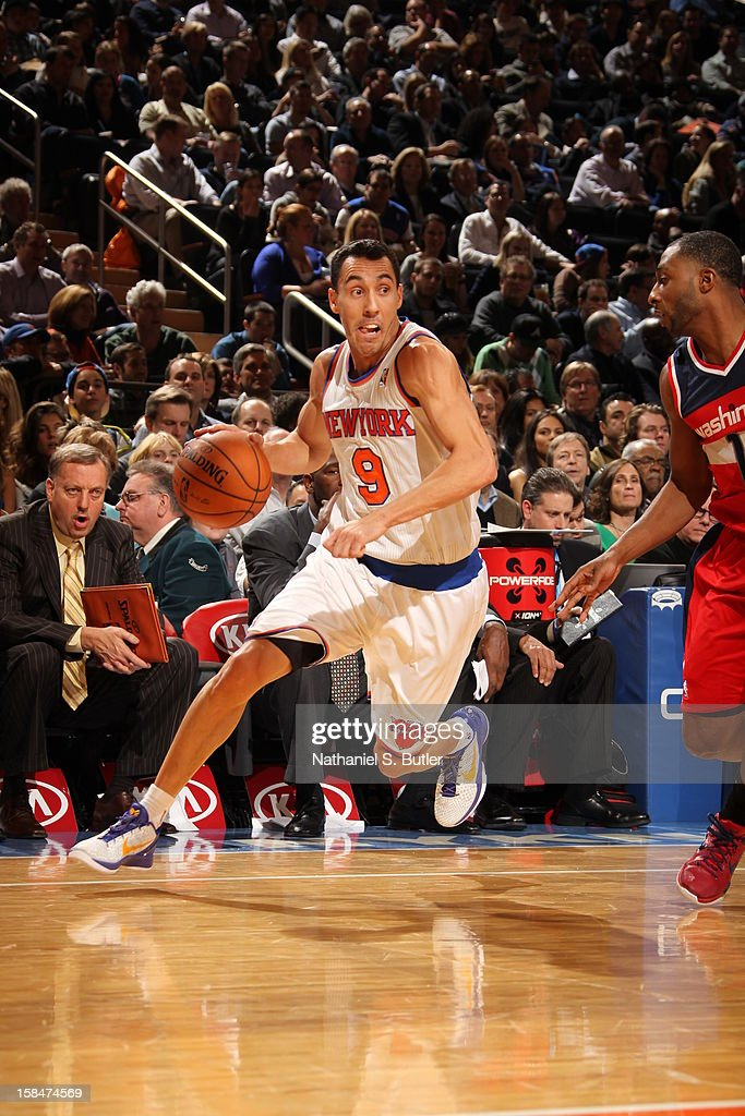 Pablo Prigioni #9 of the New York Knicks drives to the basket against the Washington Wizards on November 30 2012 at Madison Square Garden in New York City.