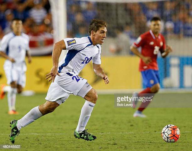 Pablo Punyed of El Salvador looks for someone to pass the ball in the second half against Costa Rica at BBVA Compass Stadium on July 11 2015 in...