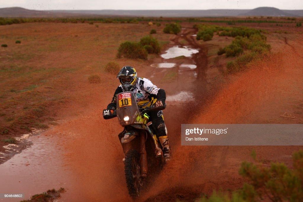 Pablo Quintanilla of Chile and Husqvarna Rally Racing Team rides a FR 450 Rally Husqvarna bike in the Elite ASO during stage seven of the 2018 Dakar Rally between La Paz and Uyuni on January 13, 2018 in UNSPECIFIED, Bolivia.