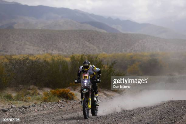 Pablo Quintanilla of Chile and Husqvarna Rally Racing Team rides a FR 450 Rally Husqvarna bike in the Elite ASO during stage eleven of the 2018 Dakar...