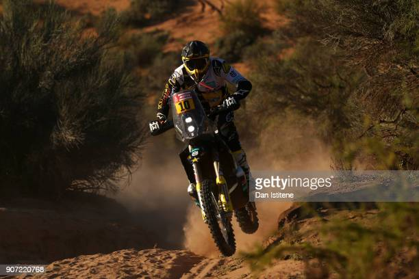 Pablo Quintanilla of Chile and Husqvarna Rally Racing Team rides a FR 450 Rally Husqvarna bike in the Elite ASO during stage thirteen of the 2018...