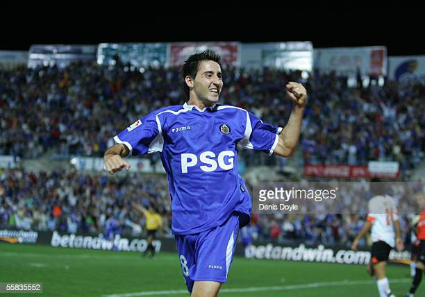 Pablo Redondo of Getafe celebrates after scoring the winning goal against Valencia during a La Liga match between Getafe and Valencia at the Coliseum...