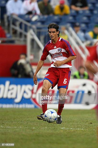 Pablo Ricchetti of FC Dallas handles the ball during the game played against the New England Revolution at Gillette Stadium on June 06 2008 in...