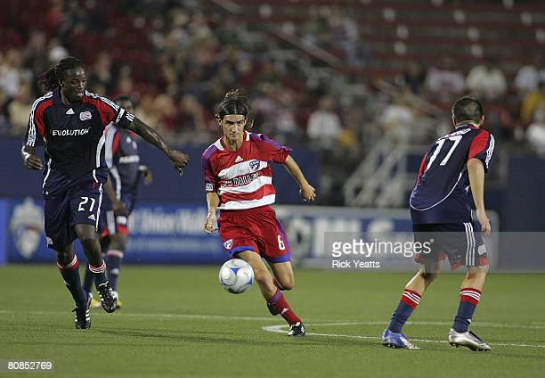 Pablo Ricchetti of FC Dallas work the ball through the New England defense on April 24, 2008 at Pizza Hut Park in Frisco, Texas. New England won the...