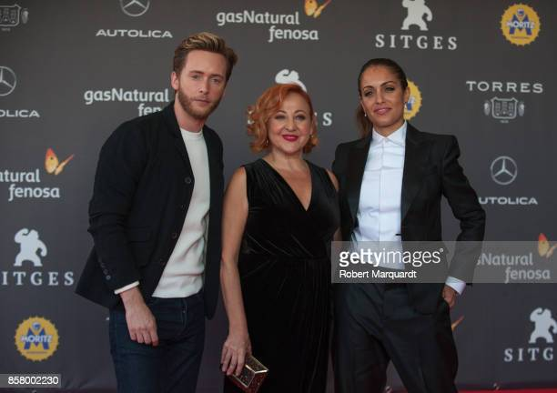 Pablo Rivero Carmen Machi and Hiba Abouk pose on the red carpet at the Sitges Film Festival 2017 on October 5 2017 in Sitges Spain