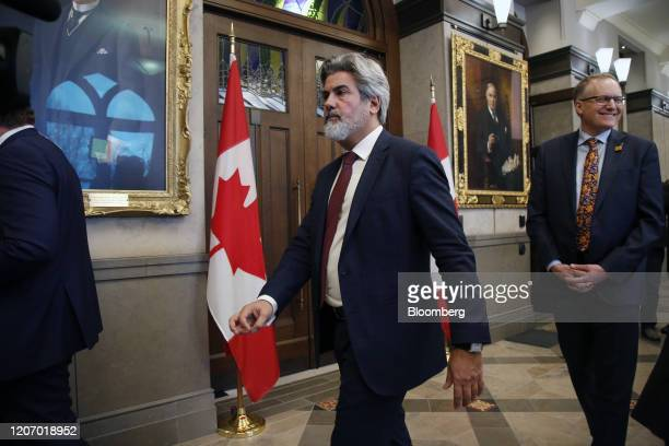 Pablo Rodriguez Canada's leader of the government in the House of Commons leaves following a news conference in the West Block foyer on Parliament...
