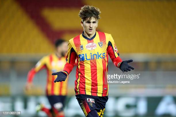 Pablo Rodriguez Delgado of Lecce celebrates after scoring his team's opening goal during the Serie B match between US Lecce and Brescia Calcio at...