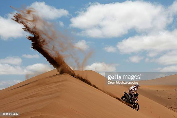 Pablo Rodriguez of Argentina for Honda Argentina Rally Team competes in stage 12 on the way to La Serena during Day 13 of the 2014 Dakar Rally on...