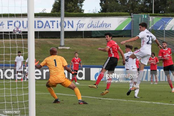 Pablo Ropdriguez of Real Madrid heads the side into a 1-0 lead during the match at Colovray Sports Centre on August 25, 2020 in Nyon, Switzerland.