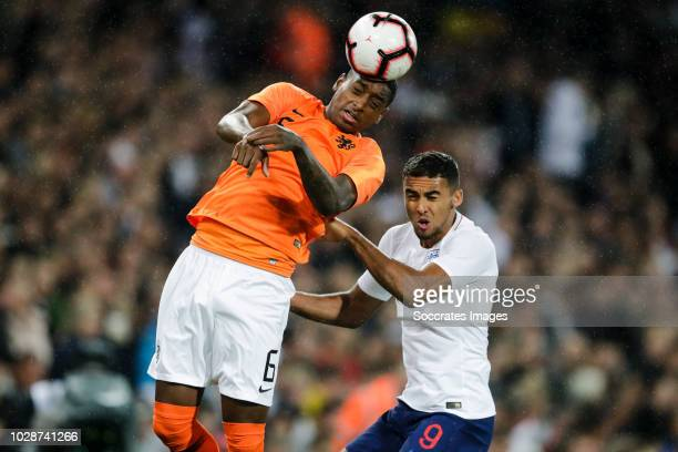 Pablo Rosario of Holland U21 Dominic Calvert Lewin of England U21 during the match between England U21 v Holland U21 at the Carrow Road on September...