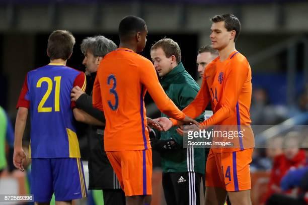 Pablo Rosario of Holland U21 Justin Hoogma of Holland U21 during the match between Holland U21 v Andorra U21 at the De Vijverberg on November 10 2017...