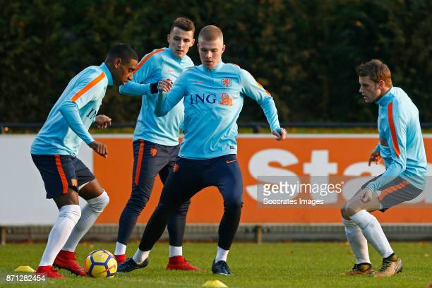 Pablo Rosario of Holland U21 Oussama Idrissi of Holland U21 Rick van Drongelen of Holland U21 Guus Til of Holland U21 during the match between...