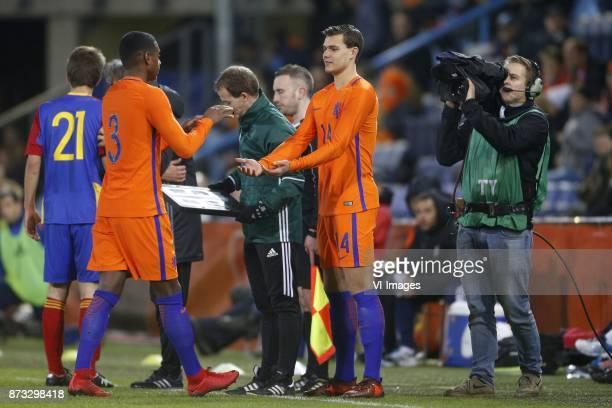 Pablo Rosario of Jong Oranje Justin Hoogma of Jong Oranje during the EURO U21 2017 qualifying match between Netherlands U21 and Andorra U21 at the...