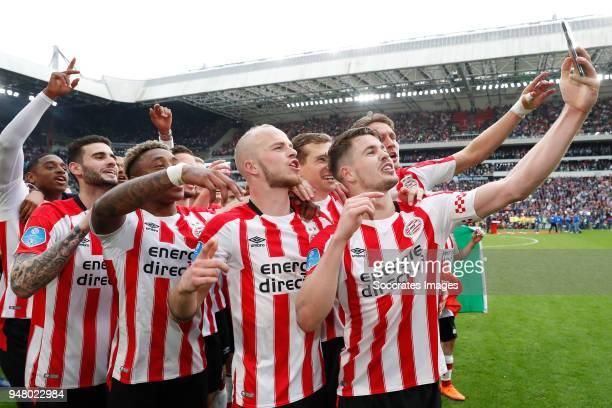 Pablo Rosario of PSV Gaston Pereiro of PSV Steven Bergwijn of PSV Jorrit Hendrix of PSV Daniel Schwaab of PSV Marco van Ginkel of PSV Luuk de Jong of...