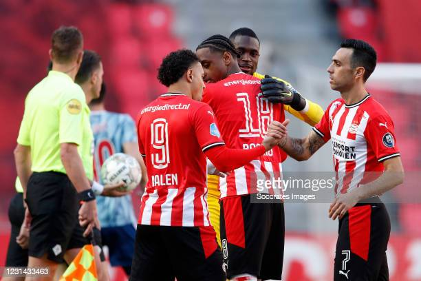 Pablo Rosario of PSV, Yvon Mvogo of PSV during the Dutch Eredivisie match between PSV v Ajax at the Philips Stadium on February 28, 2021 in Eindhoven...