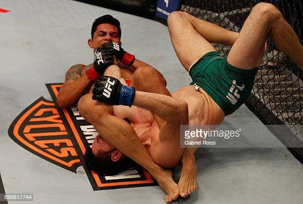Pablo Sabori submits Santiago Cardenas during the filming of The Ultimate Fighter Latin America: Team Liddell vs Team Griffin on May 20, 2016 in...