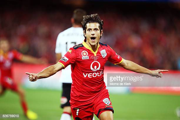 Pablo Sanchez Alberto of Adelaide United celebrates after scoring a goal during the 2015/16 ALeague Grand Final match between Adelaide United and the...