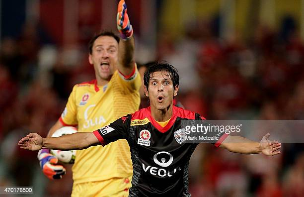 Pablo Sanchez and Eugene Galekovic of United appeal to the referee after a penalty decision during the round 26 ALeague match between the Western...