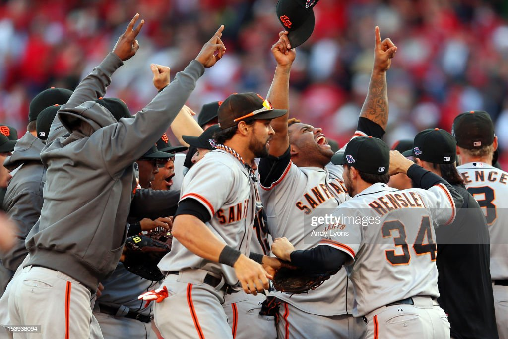Pablo Sandoval #48 and the San Francisco Giants reacts after defeating the Cincinnati Reds by a score of 6-4 to win Game Five of the National League Division Series and advance to the NLCS at Great American Ball Park on October 11, 2012 in Cincinnati, Ohio.