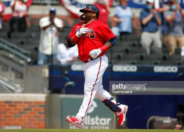 Pablo Sandoval of the Atlanta Braves runs the bases after hitting a two run home run in the sixth inning of an MLB game against the Miami Marlins at...