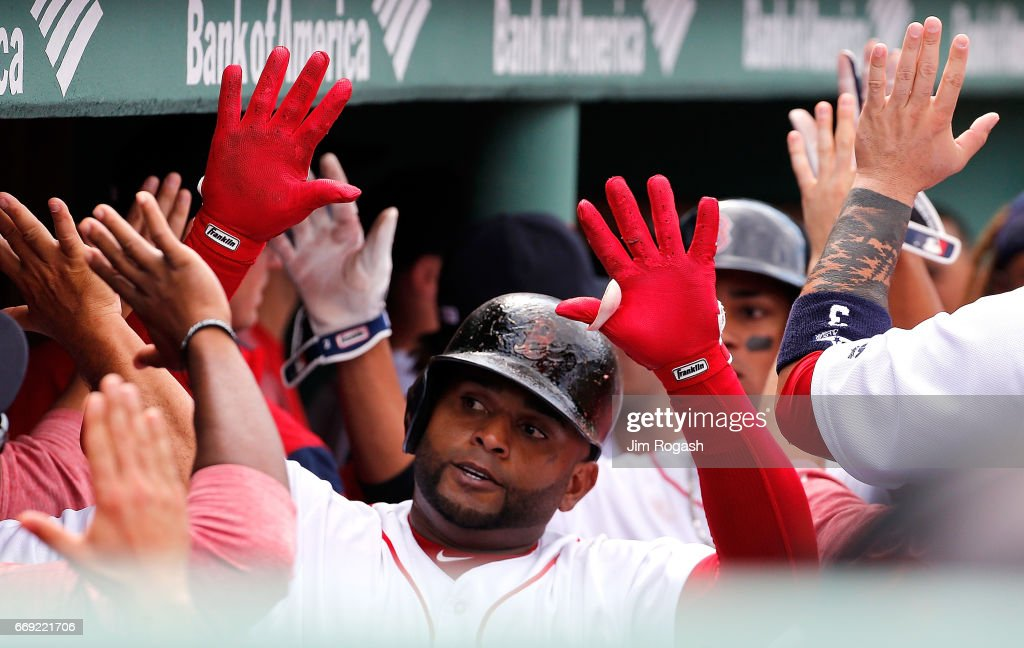 Pablo Sandoval #48 of the Boston Red Sox celebrates his two-run home run against the Tampa Bay Rays in the fourth inning at Fenway Park on April 16, 2017 in Boston, Massachusetts.