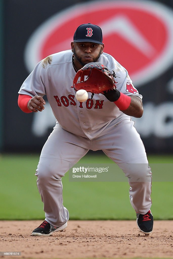 Pablo Sandoval #48 of the Boston Red Sox fields a ground ball in the ninth inning against the Philadelphia Phillies during Opening Day at Citizens Bank Park on April 6, 2015 in Philadelphia, Pennsylvania. The Red Sox won 8-0.