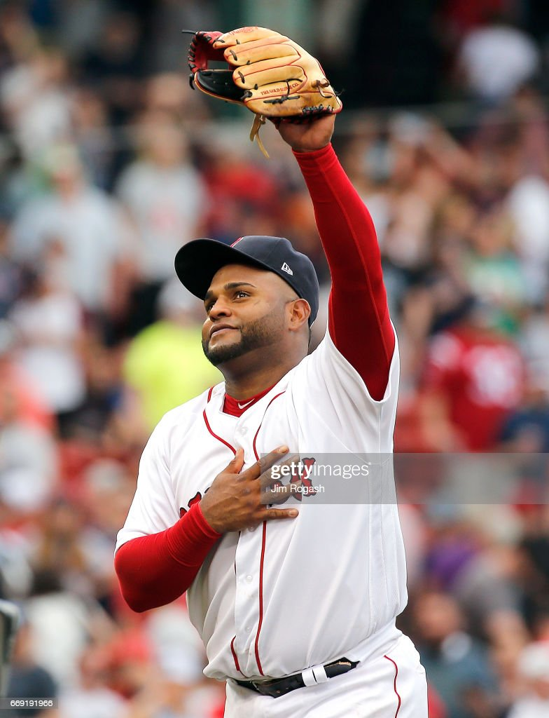 Pablo Sandoval #48 of the Boston Red Sox reacts after a win over the Tampa Bay Rays at Fenway Park on April 16, 2017 in Boston, Massachusetts.