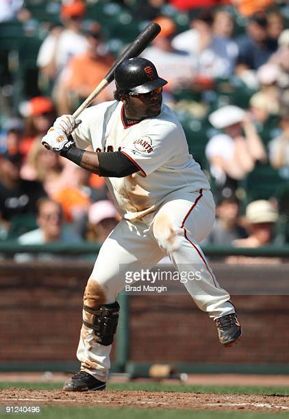 Pablo Sandoval of the San Francisco Giants bats against the Chicago Cubs during the game at AT&T Park on September 26, 2009 in San Francisco,...