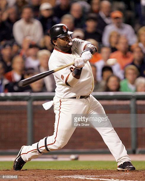 Pablo Sandoval of the San Francisco Giants bats against the Colorado Rockies during their game at AT&T Park on September 16, 2009 in San Francisco,...
