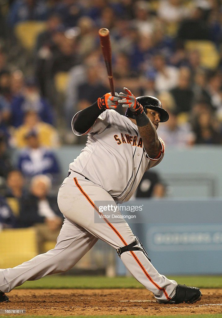 Pablo Sandoval #48 of the San Francisco Giants bats in the sixth inning during the MLB game against the Los Angeles Dodgers at Dodger Stadium on April 3, 2013 in Los Angeles, California. Sandoval grounded out to shortstop on this at-bat. The Giants defeated the Dodgers 5-3.