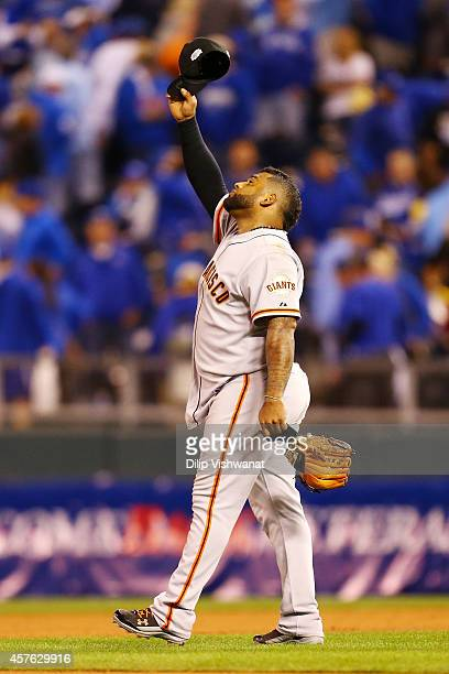 Pablo Sandoval of the San Francisco Giants celebrates after defeating the Kansas City Royals by a score of 71 to win Game One of the 2014 World...