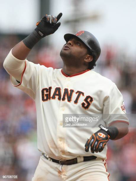 Pablo Sandoval of the San Francisco Giants celebrates after hitting a single in the sixth inning against the Los Angeles Dodgers during a Major...