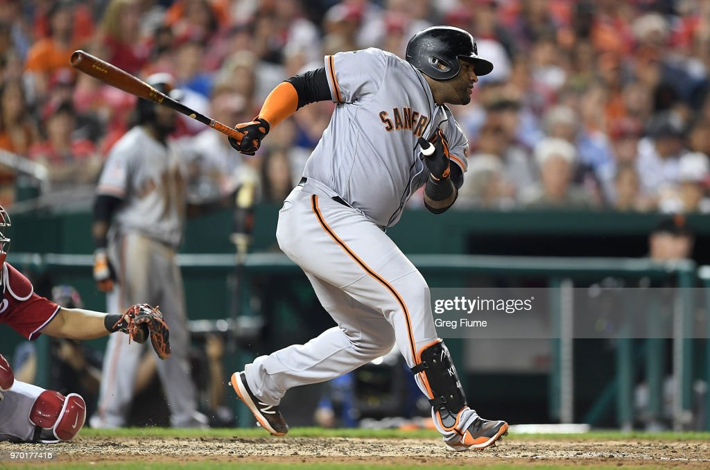 Pablo Sandoval #48 of the San Francisco Giants drives in a run with a single in the seventh inning against the Washington Nationals at Nationals Park on June 8, 2018 in Washington, DC.