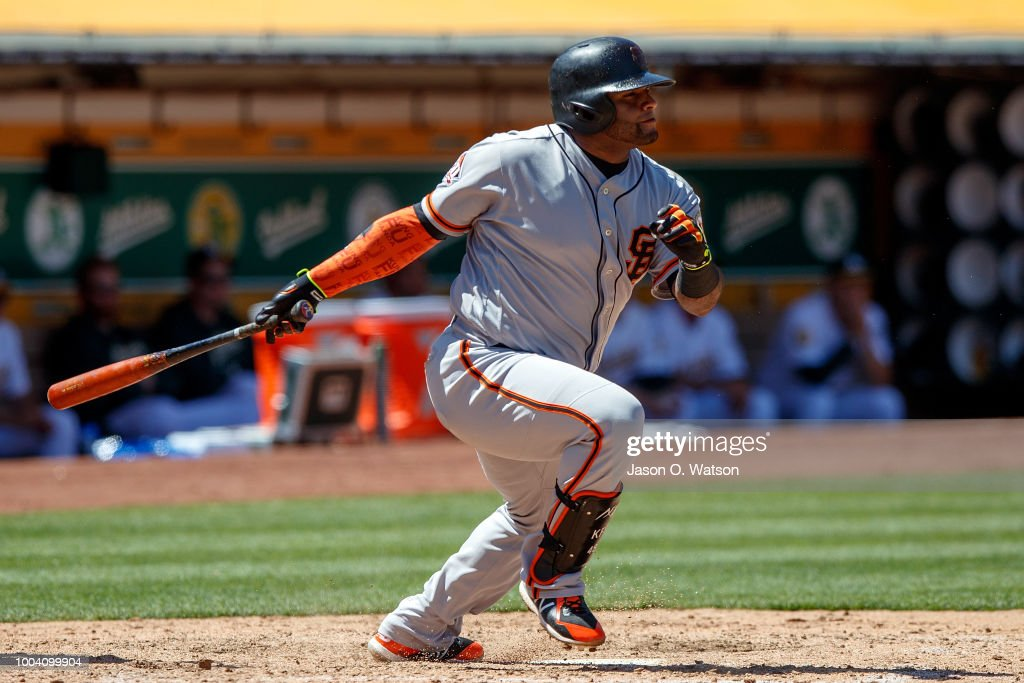 Pablo Sandoval #48 of the San Francisco Giants hits a two run double against the Oakland Athletics during the seventh inning at the Oakland Coliseum on July 22, 2018 in Oakland, California. The Oakland Athletics defeated the San Francisco Giants 6-5 in 10 innings.