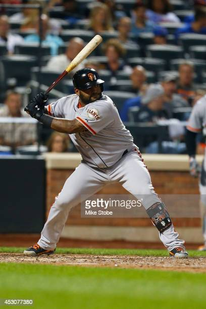 Pablo Sandoval of the San Francisco Giants in action against the New York Mets at Citi Field on August 1 2014 in the Flushing neighborhood of the...