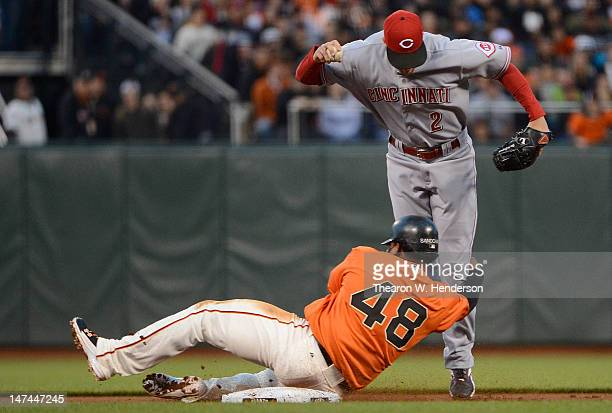 Pablo Sandoval of the San Francisco Giants interferes with Zack Cozart of the Cincinnati Reds on a double-play ball in the fourth inning at AT&T Park...