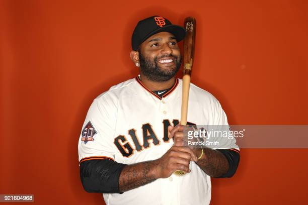 Pablo Sandoval of the San Francisco Giants poses on photo day during MLB Spring Training at Scottsdale Stadium on February 20 2018 in Scottsdale...