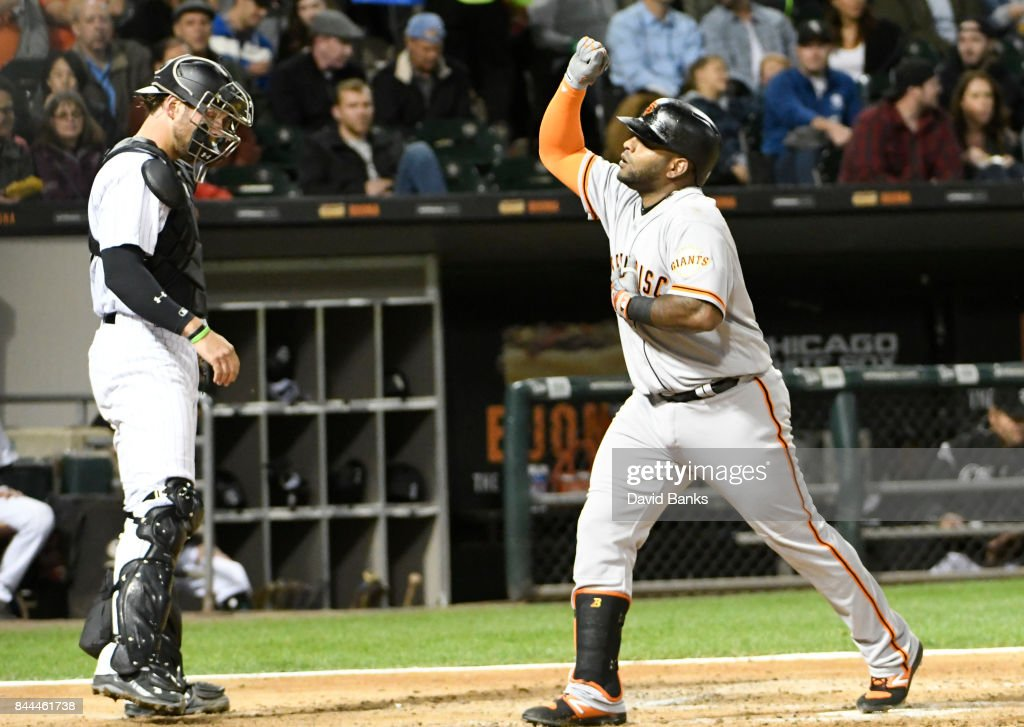 Pablo Sandoval #48 of the San Francisco Giants reacts as he crosses home plate after hitting a three-run homer against the Chicago White Sox during the fourth inning on September 8, 2017 at Guaranteed Rate Field in Chicago, Illinois.