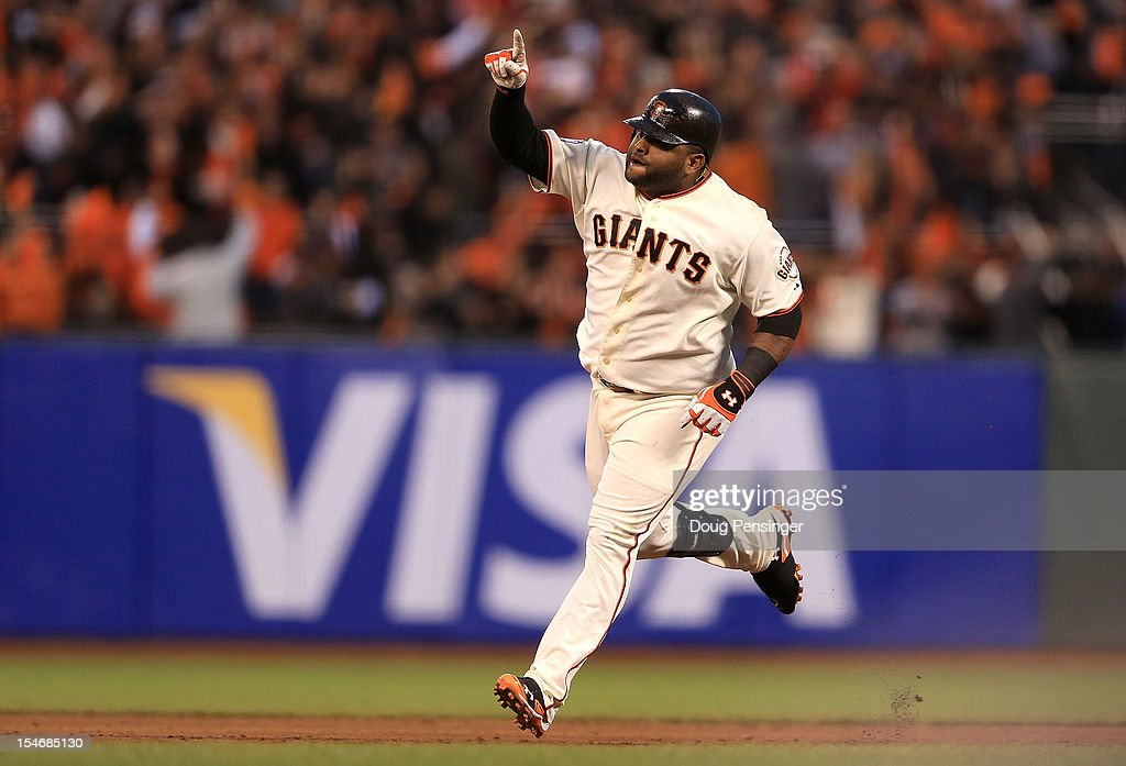 Pablo Sandoval #48 of the San Francisco Giants rounds the bases after scoring a two run home run to left field against Justin Verlander #35 of the Detroit Tigers in the third inning during Game One of the Major League Baseball World Series at AT&T Park on October 24, 2012 in San Francisco, California.