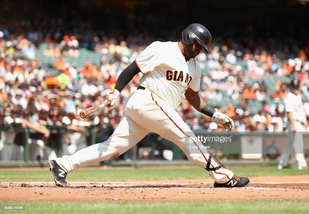 Pablo Sandoval #48 of the San Francisco Giants strikes out to end the first inning against the Milwaukee Brewers at AT&T Park on August 23, 2017 in San Francisco, California.