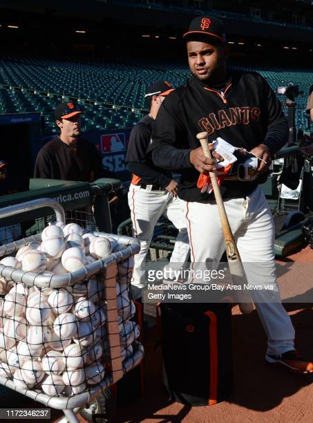 Pablo Sandoval of the San Francisco Giants takes the field for practice Saturday afternoon Oct 13 2012 at ATT Park in San Francisco as the team...