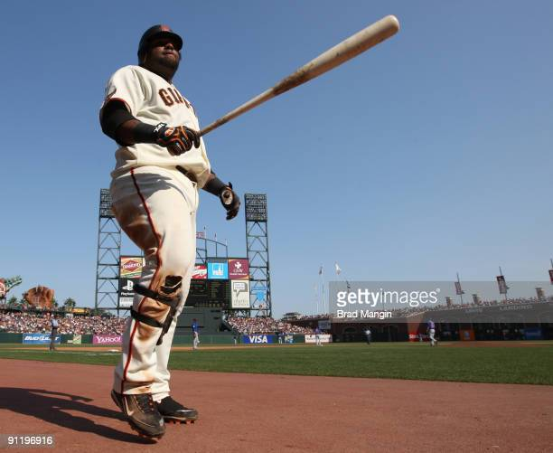 Pablo Sandoval of the San Francisco Giants walks to the on deck circle against the Chicago Cubs during the game at ATT Park on September 27 2009 in...